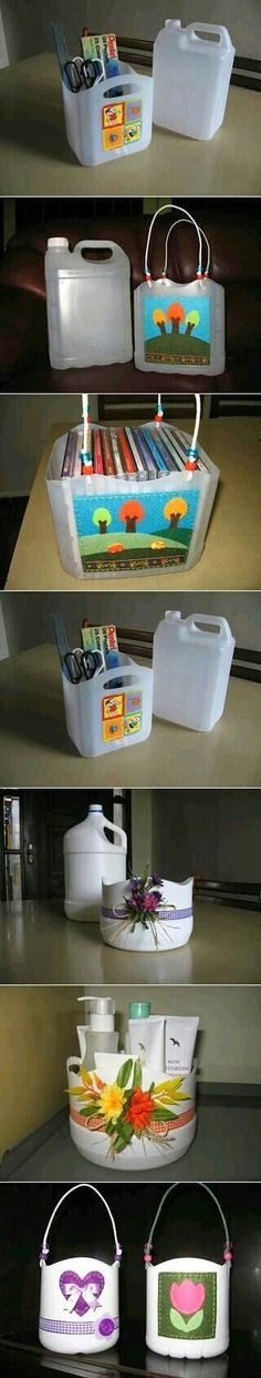 DIY Storage Ideas Made from Plastic Jars. Like Handy Baskets and Cute Hand Bags and more.... ;-D