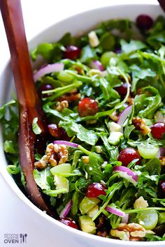 Grape, avocado and arugula salad recipe apps рецепты салатов Arugula Salad Recipes, Healthy Salad Recipes, Vegetarian Recipes, Cooking Recipes, Spring Mix Salad, Grape Salad, Clean Eating, Healthy Eating, Side Salad