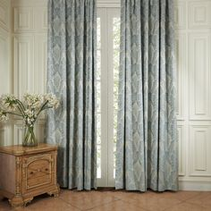 TWOPAGES Louvre Collection Luxury Traditional Blue Jacquard Flower Grommet Top Energy Saving Curtain (One Panel) Multi Size Available Custom Curtains And Draperies, Floral Curtains, Blue Curtains, Lined Curtains, Blackout Curtains, Unique Ceiling Fans, Outdoor Ceiling Fans, Botanical Bedroom, Kitchen Island With Seating