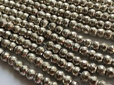 Silver Pyrite Beads Silver Pyrite Faceted by gemsforjewels on Etsy