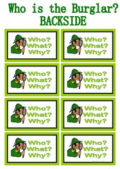 WHO IS THE BURGLAR? - 30 Conversation Cards - Roleplay - Class and Group Speaking - English ESL Worksheets for distance learning and physical classrooms Speaking Games, Public Speaking, English Speaking Skills, Teaching English, English Class, English Vocabulary, English Grammar, Grammar Games, Conversation Cards