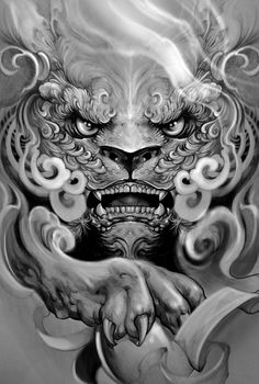 """Foo dog"" Artwork by Elvintattoo Head Tattoos, Body Art Tattoos, Sleeve Tattoos, Cool Tattoos, Japanese Tattoo Art, Japanese Tattoo Designs, Foo Dog Tattoo Design, Japanese Foo Dog, Hannya Tattoo"