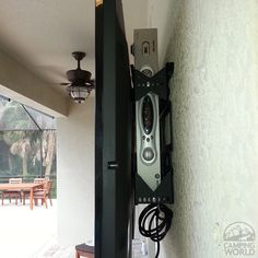 Hide your cable, DVR, or satellite box with a TV wall mount from Innovative Americans! Perfect for a fireplace or outdoor TV mount. Put your cable box behind your TV! Hide Cable Box, Hide Cables, Hide Tv Cords, Tv Cable, Cable Box Wall Mount, Hiding Tv Cords On Wall, Hiding Wires Mounted Tv, Deco Tv, Tv Over Fireplace