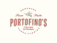 Portofino Italian Kitchen designed by green in blue. Connect with them on Dribbble; Logo Restaurant, Italian Restaurant Logos, Logo Pizzeria, Resturant Logo, Italian Logo, Pizza Restaurant, Bakery Logo, Pizza Logo, Food Truck Business