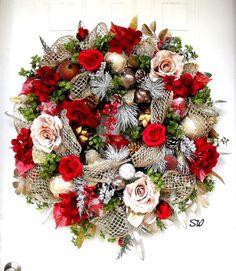 Christmas Wreath-Victorian Flair Fruit by SeasonalWreaths on Etsy