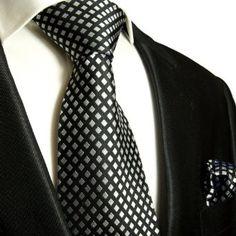Necktie Set 2pcs. Black Silver Dots 100% Silk Mens Tie + Handkerchief by Paul Malone: Amazon.co.uk: Clothing