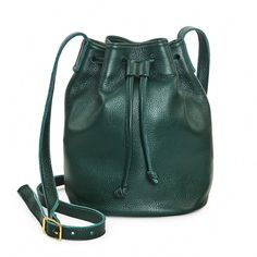 Forest Green Leather Bucket Bag, Leather Handbag, Crossbody Bucket Bag ($125) ❤ liked on Polyvore featuring bags, handbags, shoulder bags, crossbody shoulder bag, crossbody handbags, leather purses, crossbody purses and green leather handbag
