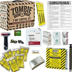 Zombie 3 Day Survival Kit – Great for surviving approx. 3 days after a zombie apocalypse. Emergency Rations, Emergency Survival Kit, Outdoor Survival, Survival Gear, Wilderness Survival, Disaster Kits, Disaster Preparedness, Hurricane Preparedness, Basic First Aid Kit