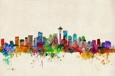 Seattle Skyline 16x20