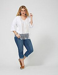 How does a peasant top with so many details look so simple? Answer: by letting it own the outfit. Dolman sleeves. lanebryant.com
