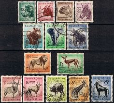 Postage Stamps South Africa 1954 Wild Animals Set Fine Used Postage Stamp Collection, First Day Covers, African Animals, Stamp Collecting, Postage Stamps, Mammals, South Africa, Wild Animals, Coins