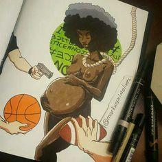 Black Art by Marcus Prime Black Love Art, Black Girl Art, Art Girl, Black Power, Prismacolor, Oita, Black Artwork, Afro Art, Black Artists