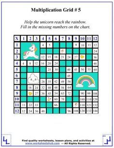 Times Table Unicorn Maze Free Math Worksheets Times Tables