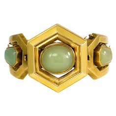 Antique Green Chalcedony and Gold Bangle | From a unique collection of vintage bangles at https://www.1stdibs.com/jewelry/bracelets/bangles/