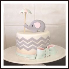 Fondant chevron /elephant baby shower cake.
