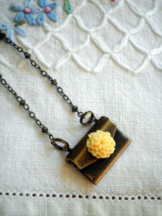 Summer Charm Necklace Envelope Love  Antiqued Bronze by ihcharms