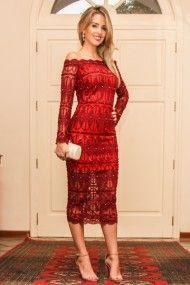Resultado de imagem para imagem de vestido vermelho renda manga longa