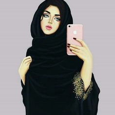 Abaya dps 😍 hijab cartoon, girly m, arabic art, woman drawing, islamic Abaya Fashion, Fashion Art, Girl Fashion, Hijabi Girl, Girl Hijab, Muslim Girls, Muslim Women, Islam Muslim, Islam Quran