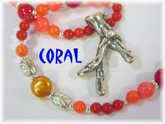 """Red & Angel Skin Coral Pearls Sterling Silver 22"""" Necklace with Branch Coral Sterling Pendant OOAK  - FREE SHIPPING In USA"""