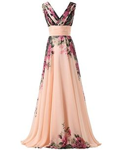 Krralinlin Deep V-Neck Ball Gown Evening Prom Party Floral Pattern Maxi Dresses