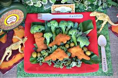 Dinosaur themed party - You can totally serve Dino nuggets! What kid doesn't like chicken nuggets? Plus, it would fit within the theme :)