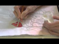 Using Inktense on Fabric - Part 2 - with Deborah Wirsu - YouTube. Use Liquitex Fabric Medium; it doesn't have to be heat set. Put a resist around the border; Elmer's Washable School Glue suffices. myb