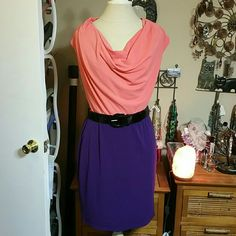 Nwt Mixed Media Dress With Belt