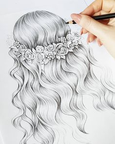In progress. ❤️ Now I get a coffee ☕ and I'm going for a trip. Happy Sunday for all! Amazing Drawings, Cool Art Drawings, Pencil Art Drawings, Beautiful Drawings, Kristina Webb Art, Watercolor Pencil Art, Social Media Art, Hair Sketch, Girl Drawing Sketches