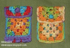 Ideakoppa: Virkattu kännykkäpussi Pot Holders, Lunch Box, Scrap, Purses, Crochet, Bags, Handbags, Handbags, Hot Pads