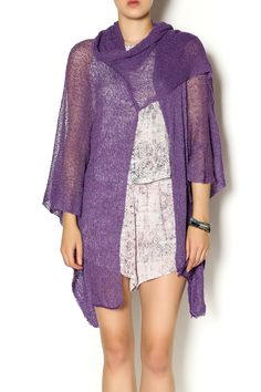 Knitted easy wear shawl has an attached scarf that can be worn in a variety of ways. Flowy cover for any dresses, camis, and tees.   Angel Shawl Scarf Clothing - Sweaters - Cardigans New Hampshire