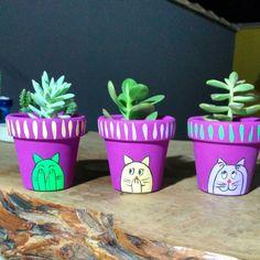 - Home Decor - Dekoration Flower Pot Crafts, Clay Pot Crafts, Cat Crafts, Diy And Crafts, Painted Plant Pots, Painted Flower Pots, Pot Jardin, Pink Out, Terracotta Pots