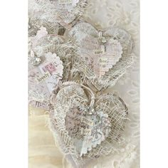 Paper and Fabric shabby chic heart embellishments Valentine Heart, Valentine Crafts, Christmas Crafts, White Christmas, Christmas Mantles, Christmas Trees, Christmas Ornaments, Shabby Chic Crafts, Vintage Crafts