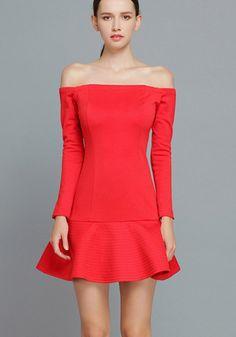 Vestido volante cuello barco manga larga en rojo de SHEINSIDE (SS14) por $59,99 Ref. dress131122500
