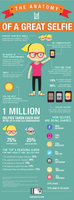 Pointless infographics example (Tufte-unapproved): anatomy of a great selfie