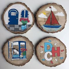 Crafts For Mothers Day Bodrum'a dogru yola cikan bardak altliklarimiz 😍 Rustic Christmas Ornaments, Beautiful Christmas Decorations, Painted Ornaments, Wooden Ornaments, Beach Themed Crafts, Wooden Door Signs, Arte Country, Window Cards, Art N Craft