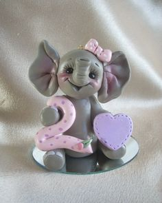 elephant birthday cake topper Christmas ornament by clayqts,