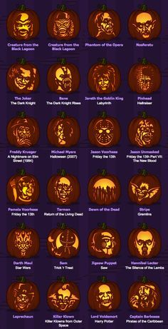 Pumpkins with horror movie monsters - Halloween - # Diy Halloween, Scary Halloween Pumpkins, Hallowen Costume, Halloween Stuff, Halloween Dance, Halloween Labels, Halloween Scene, Halloween Movies, Scary Pumpkin Carving Patterns