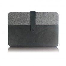 VANDEBAG MacBook Retina Case N°1410 / fine cowhide leather / merino wool felt / colour black & grey / handcrafted in Germany