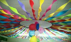 VBS - this is just a hula hoop and crepe paper. This would be so fun in the safe room for opening and closing, hang theme oriented decor in the center