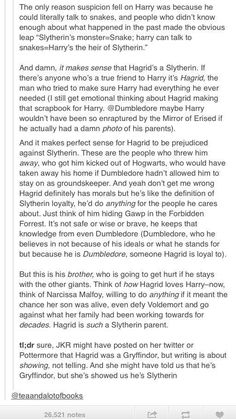 Argument for Hagrid being a Slytherin. I'll accept it. Also, with this, it makes it worse that Tom sold him out, bc it you're going to sell someone out, it's one thing to for it to be someone of another House, but you don't dare turn on your own.