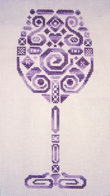 Tribal Wine Glass - White Willow Stitching
