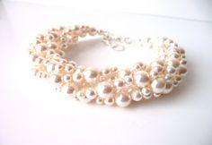 Multi Strand Pearl Bracelet, White or Ivory Cream, Wedding Jewelry, Bridal Bracelet, Bridesmaid, Mother of The Bride, Beaded Jewelry - by MelJoyCreations