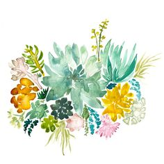 impressionist, Illustrative watercolor depiction of a succulent filled garden