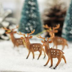 Miniature Plastic Deer Ornaments - These would be darling with Putz Houses