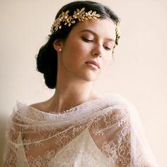 Octavia leaf  gemstone bridal Roman crown by EricaElizabethDesign, $595.00