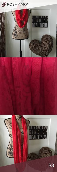 Vivid red infinity scarf Lightweight red patterned infinity scarf Accessories Scarves & Wraps