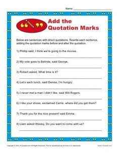 Kindergarten Addition Worksheets, Worksheets For Grade 3, English Grammar Worksheets, Teacher Worksheets, Printable Worksheets, Free Printable, Punctuation Quotation Marks, Use Of Quotation Marks, Punctuation Posters