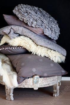piles of pillows #mirbellabeauty #grey