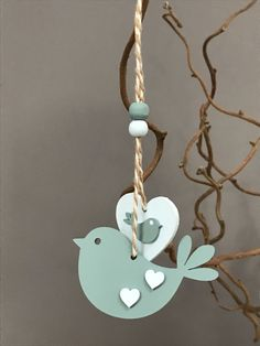 Wooden hanging bird and heart Bird Crafts, Wooden Crafts, Clay Crafts, Diy And Crafts, Arts And Crafts, Valentine Crafts, Easter Crafts, Clay Ornaments, Christmas Ornaments