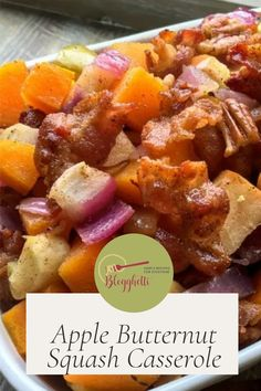 This Apple Butternut Squash Casserole with Bacon-Pecan Topping is a perfect Fall food side dish. It would make a delicious addition to your holiday menus. Apple Recipes, Fall Recipes, Butternut Squash Casserole, Main Dishes, Side Dishes, Pecan, Easy Meals, Appetizers, Menu